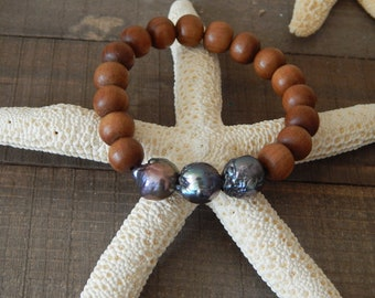 Triple edison pearl and sandalwood bead bracelet, beach chic, boho style, boho bohemian, summer bracelet, stacking bracelet