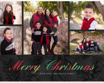 Merry Christmas Holiday Photo Christmas Card Personalized Holiday Card