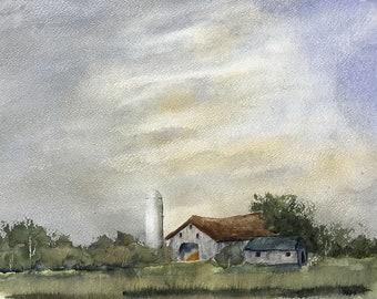 Barn and Silo with darkening sky