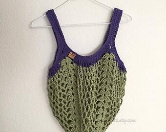 Boho Market Bag~Green and Purple Crochet Tote Bag~Reusable Shopping Bag~Beach Bag~Market Tote~Crocheted Grocery Bag~olive green~purple