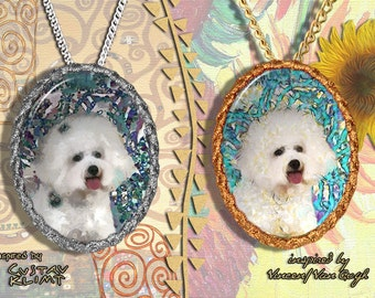 Bichon Frise Jewelry Pendant - Brooch Handcrafted Porcelain by Nobility Dogs - Gustav Klimt and Van Gogh Style