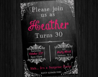 Chalkboard Style Printable Birthday Invitation