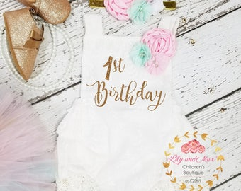 1st Birthday Outfit, pink mint and gold birthday tutu set, 1st birthday Romper, pastel birthday set, first birthday smash cake outfit