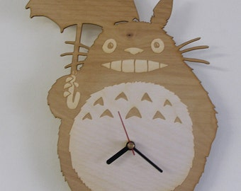 Totoro handmade wooden wall clock