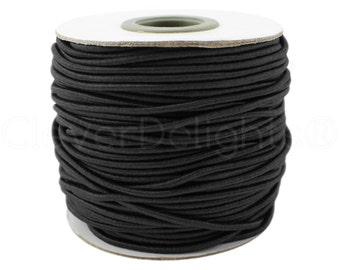 20 Yds - Black Elastic Cord - 2mm - Premium Elastic Stretch Cording - For Beading, Jewelry, Crafts, Necklaces - 20 Yards