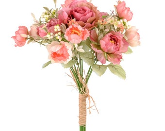Artificial/Silk Flower Bush/Bunch Floral Mix Coral Rose