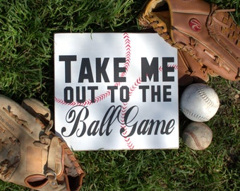Take Me Out To The Ball Game Hand Painted Wood Sign, Baseball Sign, Boys Room Sign, Sign for the Sports Lover