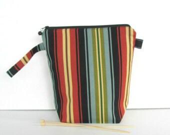 Socks knitting bag, Zipper wedge project bag, Zipper pouch Yarn bag, Striped Men's toiletry bag