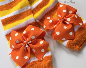 Candy Corn Leg Warmers for baby girls and newborns -- READY TO SHIP -- Halloween -- orange, yellow, white striped and polka dot