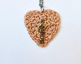 Heart Pendant / Crochet Heart Jewelry / Crochet Heart Necklace / Handmade Necklace / Handmade Heart Jewelry / Fashion Jewelry / Gifts
