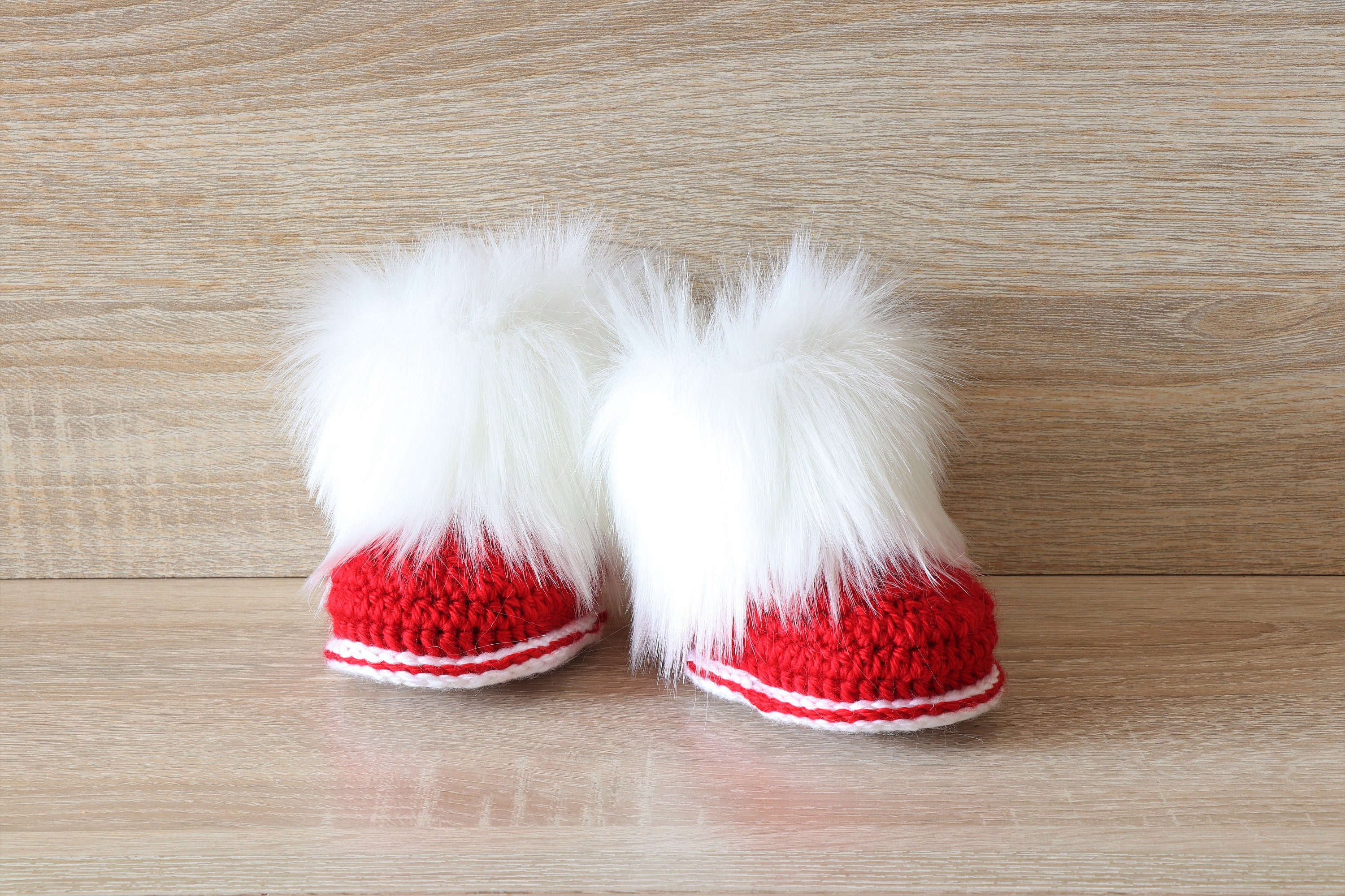 Red and white baby booties Fur Booties Crochet booties
