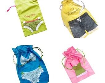 Custom Lingerie Bag, Travel Pouch, Laundry Bag, Shoe Bag, Drawstring, Hand Embroidered
