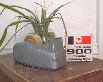 Vinatge Industrial Metal Tape Dispenser with Tape