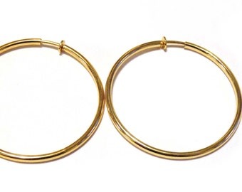 Clip-on Earrings Hoop Earrings Gold Tone Hypo-Allergenic Hoop Earrings 2.25 INCH