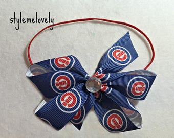Chicago Cubs Baby Girl Boutique Bow Elastic Headband