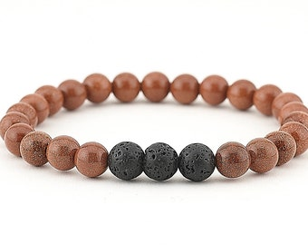 lava bead bracelet, essential oil, diffuser bracelet, goldstone, stretch bracelet, essential oil bracelet, jewelry, aromatherapy, yoga, boho