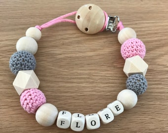 Nipple cord personalised with wooden and crocheted beads.