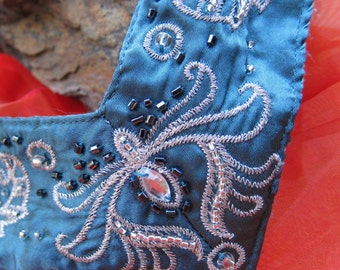Rhinestone and Satin Bib Statement Necklace in Turquoise