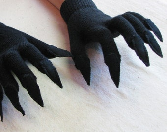 Gloves with claws, black on black, for Halloween costume or pretend play, 3 sizes