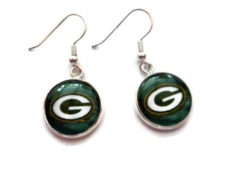 Green Bay Packer Earrings, Packer Jewelry, Dangle Drop Round Glass Tile 16mm Glass Tile Bezel Earrings Sister Gift Gift for BFF