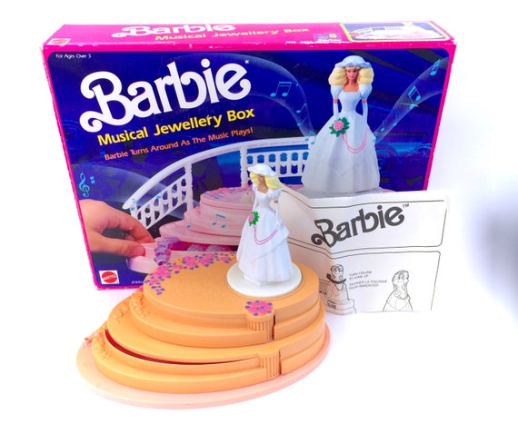 Vintage Barbie Musical Jewelry Box Complete With Storage Box