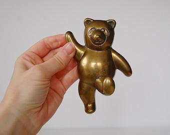 Vintage Bear Hook, Brass Bear Kid's Decor, Wall Hanger, Coat Hook