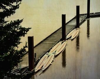 Portland Waterfront   Landscape Photography   Boats   Nautical Print   Willamette River Landscape   Square Wall Art   Rustic Home decor