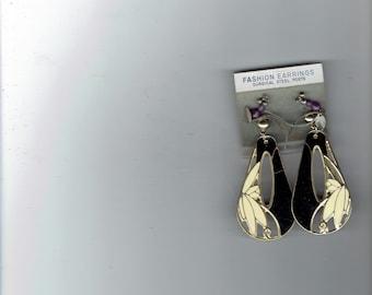 2 pair earrings,i pair black and white dangle,i pair purple dangle