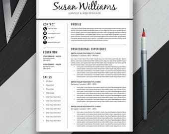 Professional Resume Template, Cover Letter, CV Template, US Letter, A4, Creative,Simple, Modern Resume Design, Instant Download, 'SUSAN'