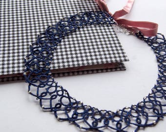 Mother's Day Gift, Tatting Lace Necklace, Dark Blue Necklace, Navy Blue Statement Necklace, Filigree Necklace, Gift for Women,  Frivolite
