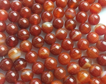 """Smooth Red Stripe Agate Genuine Loose Gemstone Beads Size 6mm/8mm/10mm Approximately 15.5"""" per Strand"""