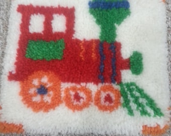 Finished latchhook choochoo train wall hanging or pillow cover