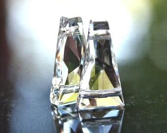 Swarovski Elements 17x9mm Faceted Keystone Double Hole Crystal : 2 pc