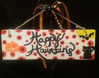 "Ceramic Plaque-11x4""-Fall/Halloween theme"
