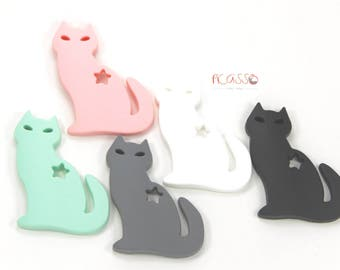 CAT teething toy, food silicone, baby gift, sensory toys, Chew toy, Shower gift, Cat Chewing pendant, Breastfeeding, Christmas baby gift