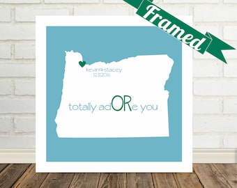 OREGON Map Print Personalized Engagement Gift Framed Art Wedding Art Oregon Wedding  Gift Valentines Day Gift for Her Gift for Girlfriend