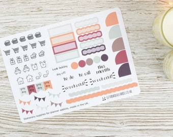 Hobonichi Monthly Planner Stickers; Autumn Kit; Monthly Sticker Kit; Hobonichi Techo Cousin Sticker