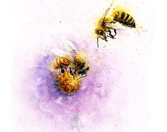 BEE ART PRINT - watercolor bee painting, honeybee art, bee lover, bee gift, bee decor, bee wall art, insect art, insect painting
