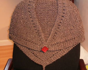 Woolen Handknit Shawl with Red Leather Button