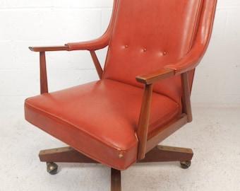 Beautiful Mid-Century Modern Vinyl Desk Chair (8900)NJ
