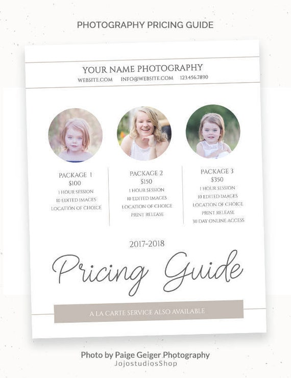 Photography Price List Template Pricing