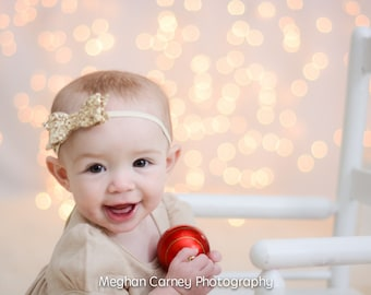 Gold, Silver or Black Glitter Bow Headband/Fits Babies Thru Toddler/Special Occasions/Adorable Holiday Hair bow/Headband