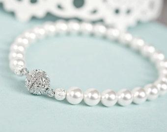 Bridal Bracelet, Pearl Bridal Bracelet, Classic Single Strand Wedding Bracelet, Pearl Bracelet