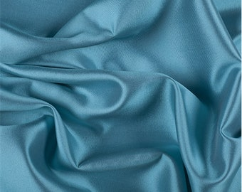 Turquoise Silk/Wool Gab, Fabric By The Yard