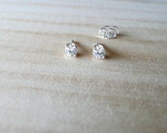 3.5mm gemstone stud earrings, diamond bright cubic zirconia gem earrings, small stud earrings, basic everyday jewelry, simple earrings