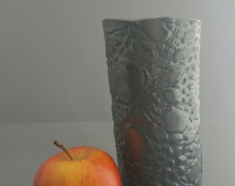 Textured bud vase; metallic black, handbuilt