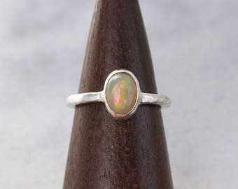 Natural Opal Ring in Argentium Silver