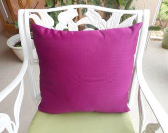 "Magenta Throw Pillows, striped grain, silk, Qty-2, size 16x16"""