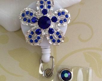 Blue Rhinestones Crystals Flower Retractable ID Badge Reel