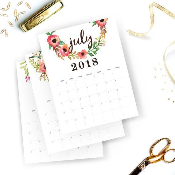 printable calendar 2018 monthly free